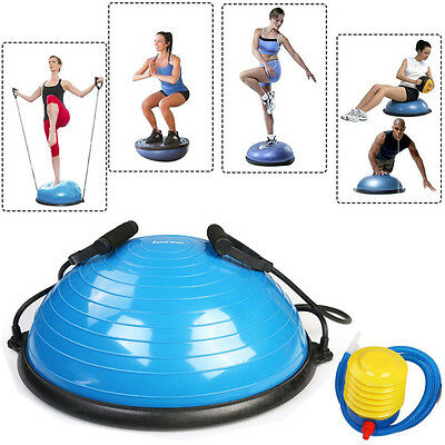 BOSU BALL Exercise Yoga Balance Trainer Ball Fitness Workout w/ Resistance Bands