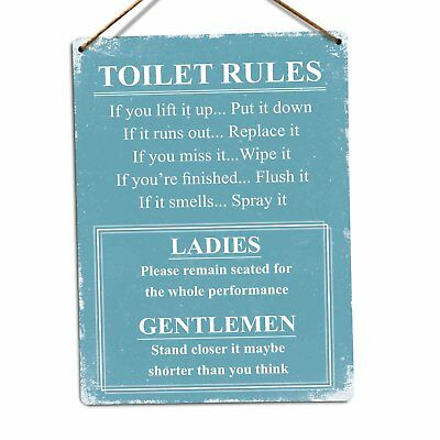 Toilet Rules (Blue) Metal Wall Sign Plaque Art Kitsch Inspirational Funny Joke