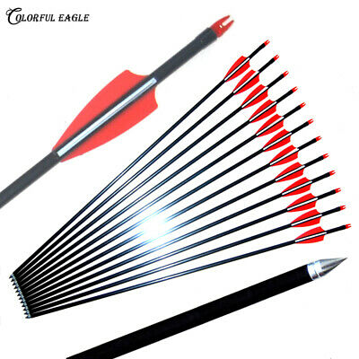 """28''29""""30""""32"""" Fibreglass Arrows For Compound Or Recurve Bow Target Field Point"""