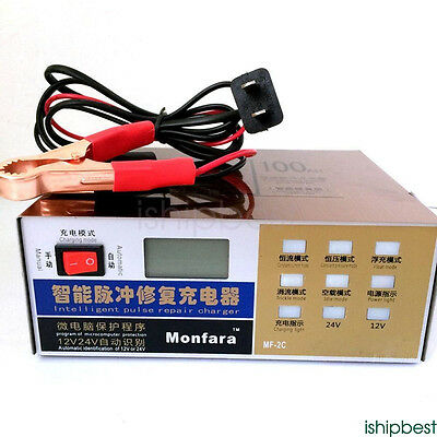 12V/24V 10A Full Automatic Electric Car Battery Charger Intelligent Pulse Repair