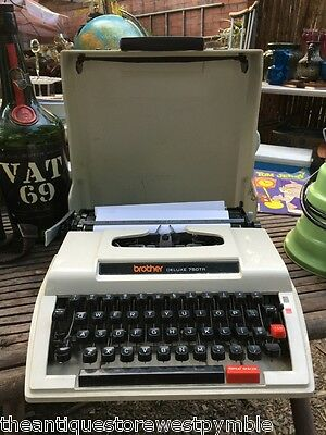 Retro Vintage 1960's Brother Deluxe 750 TR Portable Typewriter in Case & Manual