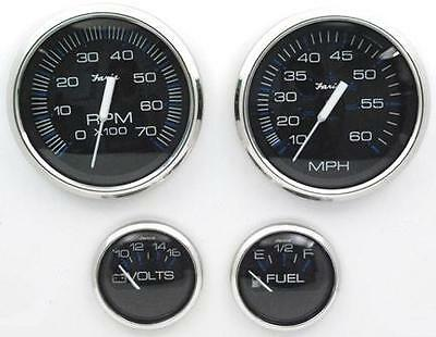 Faria Stainless & Black Outboard 4 Gauge Set Tachometer Speedometer Fuel & Volt