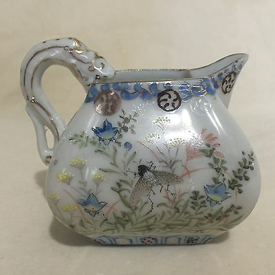 Antique Japanese Dai Nippon Porcelain Pitcher Hand Painted Flowers & Insects