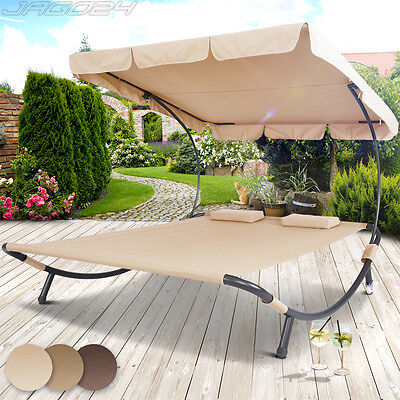 Double Sun Lounger Garden Hammock Canopy Outdoor Shade Patio Furniture Sunbed