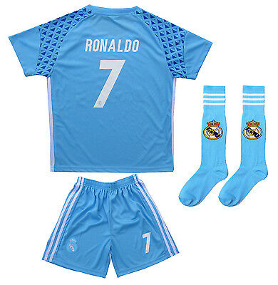 Real Madrid Ronaldo #7 Away GK Blue Kids Soccer Jersey & Shorts Youth Sizes