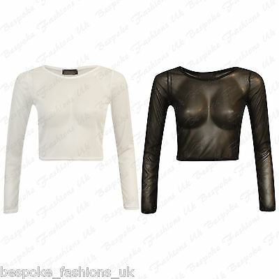 Ladies Sexy Mesh Sheer Long Sleeve Party SEE THROUGH Stretch Crop Top T-Shirt