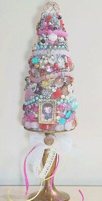 Jeweled Christmas Tree Pink Shabby Chic Vintage Jewelry Hand Made OOAK
