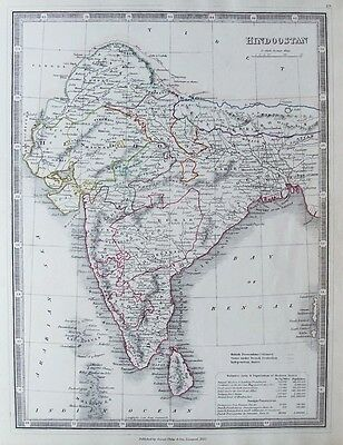 OLD ANTIQUE MAP HINDOOSTAN INDIA SRI LANKA c1853 by G PHILIP OUTLINE HAND COLOUR