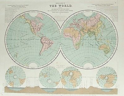 OLD ANTIQUE MAP WORLD TWIN HEMISPHERES c1880's  by STANFORD PRINTED COLOUR
