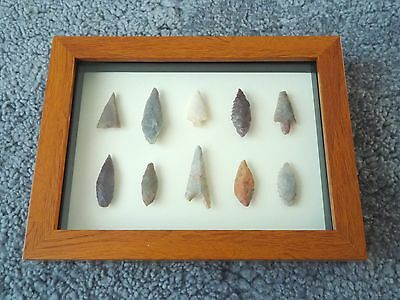 Neolithic Arrowheads in 3D Picture Frame, Authentic Artifacts 4000BC (0146)