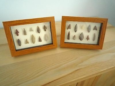 Neolithic Arrowheads in 3D Picture Frames x 2, Authentic Artifacts 4000BC (0158)