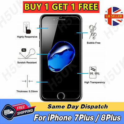 100% Genuine Tempered Glass Screen Protector Film For Apple iPhone 7 Plus