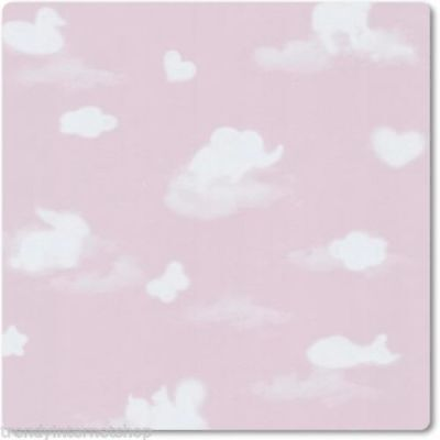 """Pink & White, Childrens """"Animal Cloud"""" Wallpaper (fantastic for a Nursery)"""