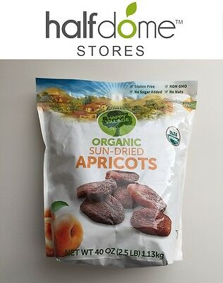 Happy Village USDA Organic Sun Dried Apricots 40oz 2.5lb 1.13kg Delicious NonGMO