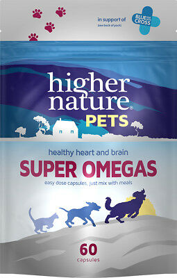 Higher Nature Super Omegas 3 6 9 for Dogs & Cats 60 Capsules Heart Brain Support