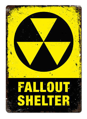 Fallout Shelter Metal Wall Sign Plaque Art Halloween Undead Room Game Nuclear