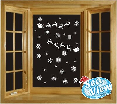 50 Snowflake & Santa's Sleigh Window Stickers Reusable Christmas Static Cling