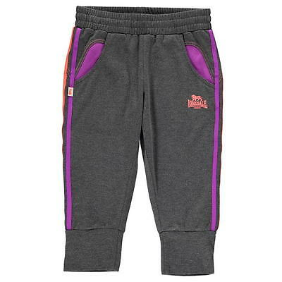 Bnwt Girls Lonsdale Two Stripe 3/4 Length Tracksuit Bottoms Charcoal/purple/cora