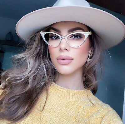 "Sexy Cat Eye Gradient ""Ombre"" Two Tone Women Eyeglasses Clear Lens Spectacles"