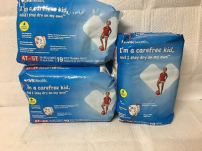 Lot Of 3 -  Boys Disposable Training Pants ~ Size 4T - 5T ~ 19 Count Each