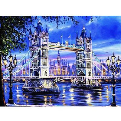 5D Tower and Bridge DIY Diamond Embroidery Painting Cross Stitch Home Wall Decor