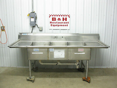 "8' Stainless Steel 3 Bowl 20"" x 30"" Compartment Sink w/ 2 Drain Boards 96"""