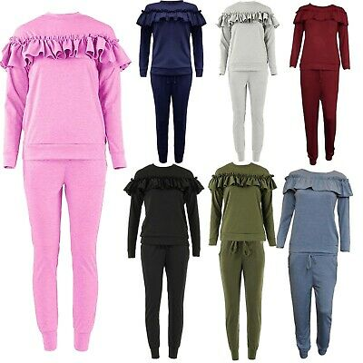 Childrens Kids Loungewear 2 Piece Set Frill Detail Ruffle Top Tracksuit Joggers