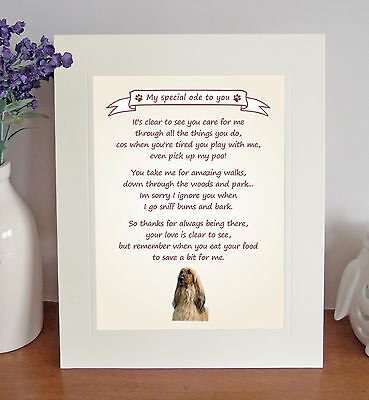 """Afghan Hound 10"""" x 8"""" Free Standing Thank You Poem Fun Novelty Gift FROM THE DOG"""