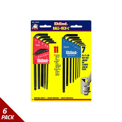 Eklind Tool Company Hex Key Set 18pc Ball End 13211/13607 Combo [6 Pack]