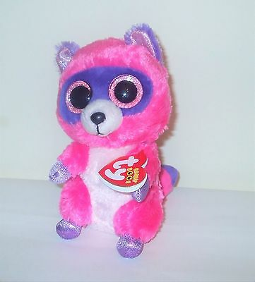 Ty Beanie Boos Roxy Pink Raccoon  With Tag