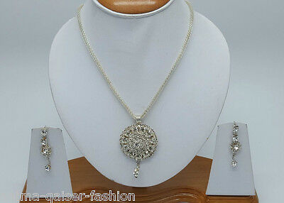 Indian Jewellery Set Alloy Silver Plated Clear Stones New - Aq/230