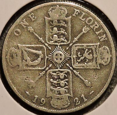 British Florin - 1921 - Big Silver Coin - $1 Unlimited Shipping