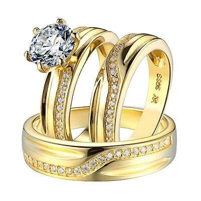 Solitaire Wedding Ring His Hers Engagement Trio Set Band 925 Silver Gold Finish