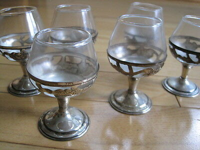 6 Pc Mexican Sterling & Glass Cordials/ Shot Glasses
