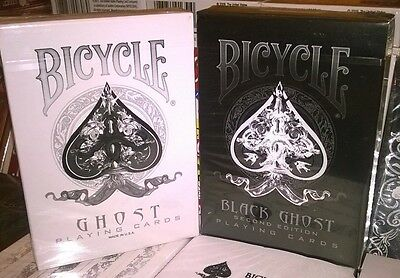 Ellusionist White & Black Ghost Playing Cards Bicycle Magic Tricks 2X Decks New
