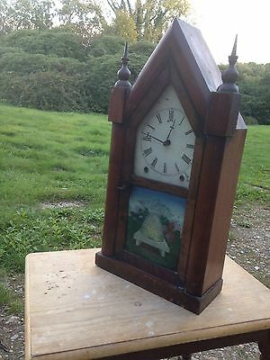 1900s American Gothic Wall Clock With BeeHive Painting
