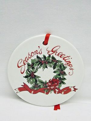Seasons Greetings w/Wreath Decal 3 In Round Porcelain Christmas Tree Ornament