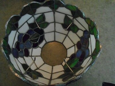Amazing Rare Hurricane Lamp Shade  Stained Glass Vintage