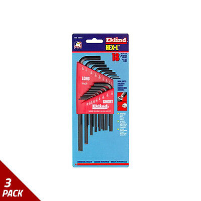 Eklind Tool Company Hex Key Set 18pc SAE Short/Long [3 Pack]
