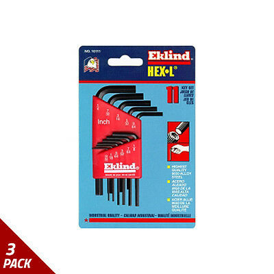 "Eklind Tool Company Hex Key Set 11pc SAE Short .050-1/4"" [3 Pack]"
