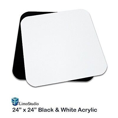 LimoStudio 24 Inch Acrylic White & Black Reflective Display Table Background
