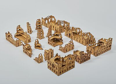 Laser Cut RUINED CITY Set 15mm Wargaming Scenery unpainted Flames of War Tanks