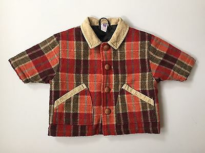 Vintage 90's Baby Red Checked Workwear Winter Jacket, Coat, Corduroy Trims
