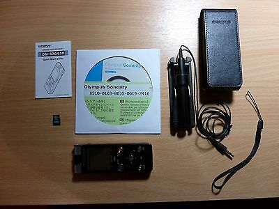 Olympus Digital Voice Recorder DM670 WITH Zoom Microphone and Leather Case