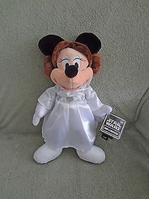 """Disney Parks Star Wars Weekends Minnie Mouse as Princess Leia Plush Doll 12"""" NEW"""