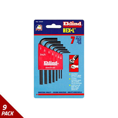 "Eklind Tool Company Hex Key Set 7pc SAE Short 5/64-1/4"" [9 Pack]"