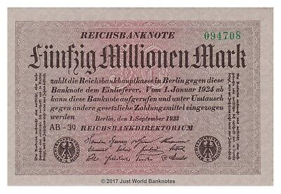 Germany 50 Million Mark 1923  P-109a  UNC