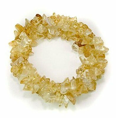 1pc Natural Citrine Crystal Healing Gemstone Triple Twist Woven Stretch Bracelet