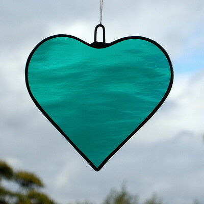Stained Glass Hanging ornament (Love Heart) Teal Green rippling waterglass