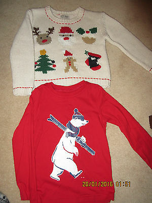 Next Christmas Jumper 4-5 & Mothercare Long Sleeve top Skiing age 5 -Bundle
